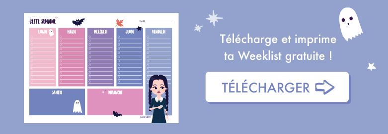 🎃 Télécharge ton planning gratuit pour organiser ta semaine, sur le thème d'Halloween et Mercredi Addams ! ⭐️ Sur Goodie Mood, le blog Feel Good et Créativité 🖤 #printable #planning #bulletjournal #mercrediaddams #graphisme #illustration #organisation #cute #planification #pdf #cadeau #gratuit #goodie #bonnehumeur #optimisme
