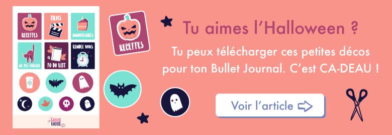 Télécharge et imprime ces petites décorations d'Halloween pour ton Bullet Journal ! Sur Goodie Mood, le blog Fell Good et Créativité