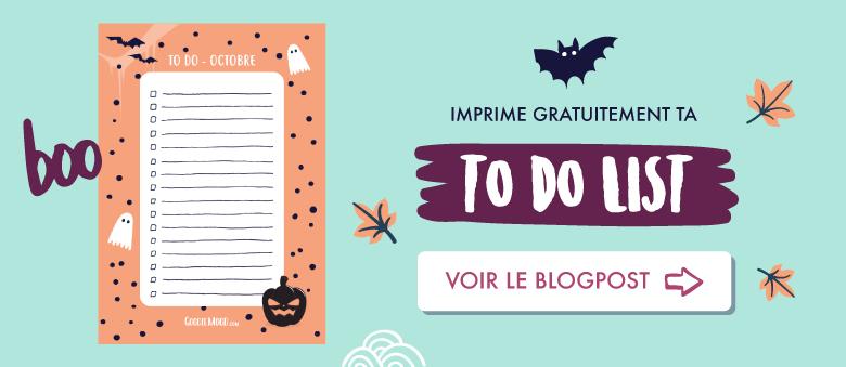 Imprime gratuitement ta to do list aux couleurs d'Halloween pour le mois d'octobre ! #todolist #printable #gratuit #cadeau #free #bulletjournal #journal #organisation #halloween