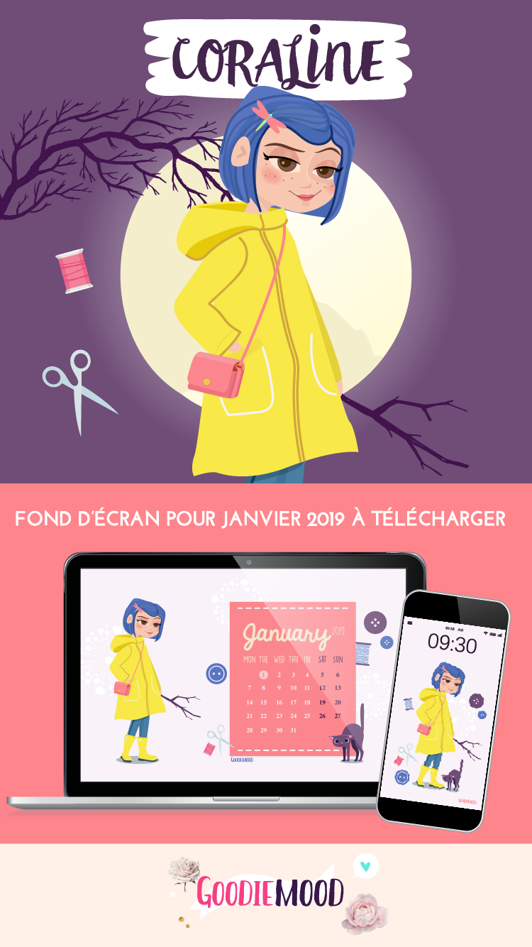 "🦉Télécharge le fond d'écran ""Coraline"" pour janvier 2019 ! À télécharger pour smartphone et ordinateur 💗 Sur Goodie Mood. le blog Feel Good 🌟 #wallpaper #free #fonddecran #coraline #fanart #feelgood #goodie #cadeau #animation #graphisme #bonneannee #chat #mignon"