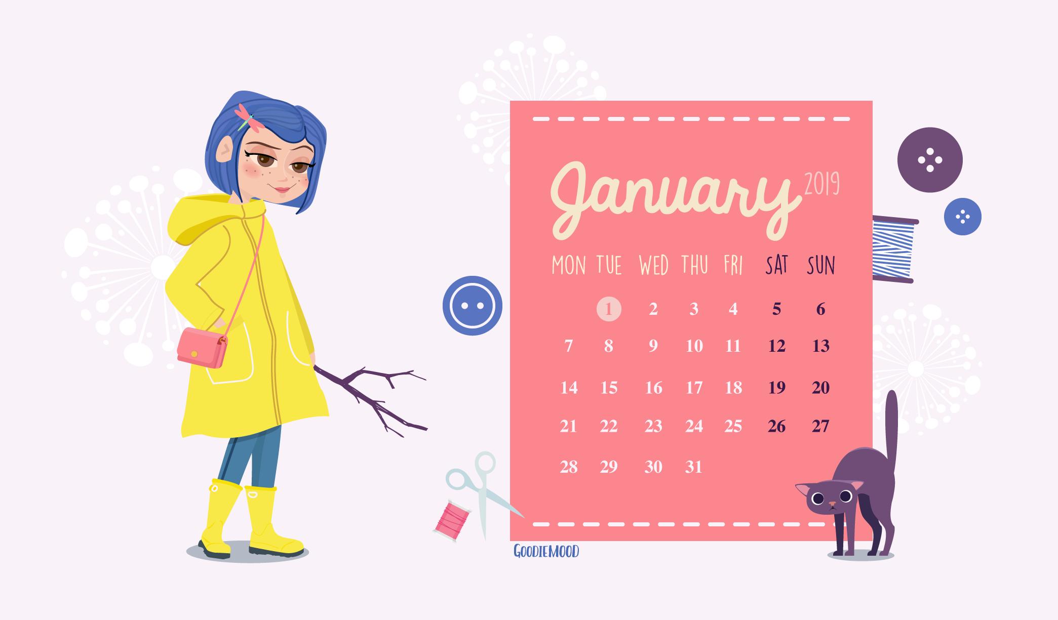Fond D écran Gratuit Pour Janvier 2019 Coraline Goodie Mood