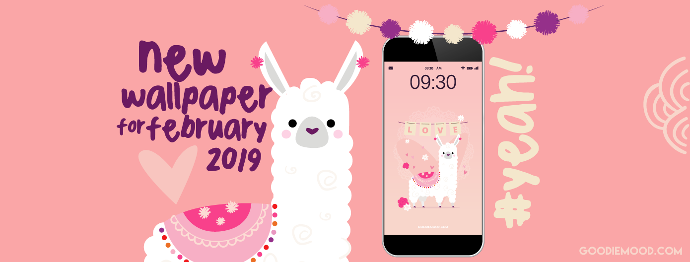 download your free wallpaper for February 2019 with this cute llama