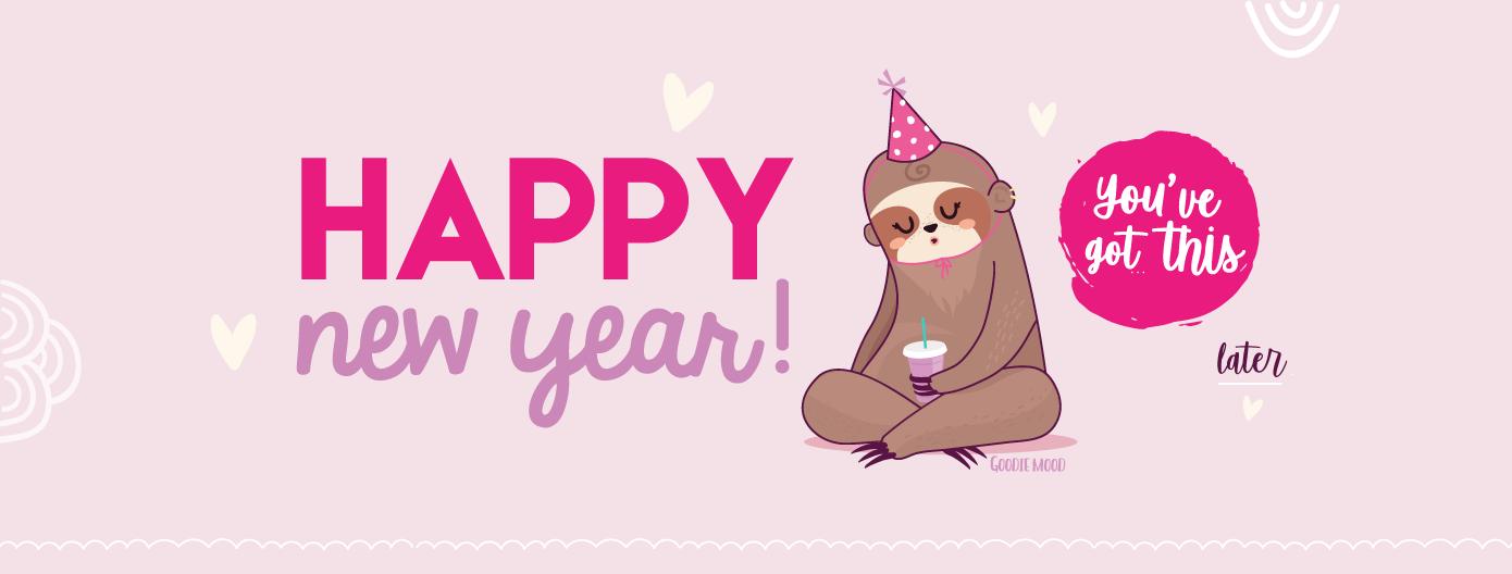 """🎁 Bonne année 2019 ! Télécharge ta carte """"Happy new Year Paresseux"""" pour la nouvelle année ! Sur Goodie Mood le blog Feel Good 💗 #paresseux #illustration #vector #sloth #card #ecard #printable #cadeau #goodie #feelgood #cute #mignon #voeux #happynewyear"""