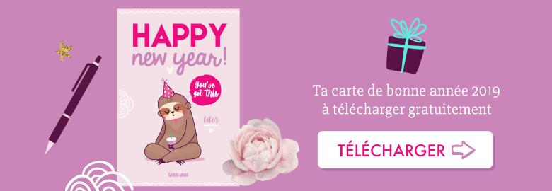 """🎁 Bonne année 2019 ! Télécharge ta carte """"Happy new Year Paresseux"""" pour la nouvelle année ! Sur Goodie Mood le blog Feel Good 💗 #paresseux #illustration #vector #sloth #card #ecard #printable #cadeau #goodie #feelgood #cute #mignon #voeux #happynewyear #nouvelan #paresseuse"""