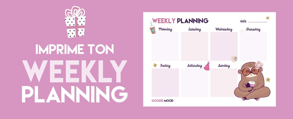 Planning de la semaine à télécharger gratuitement