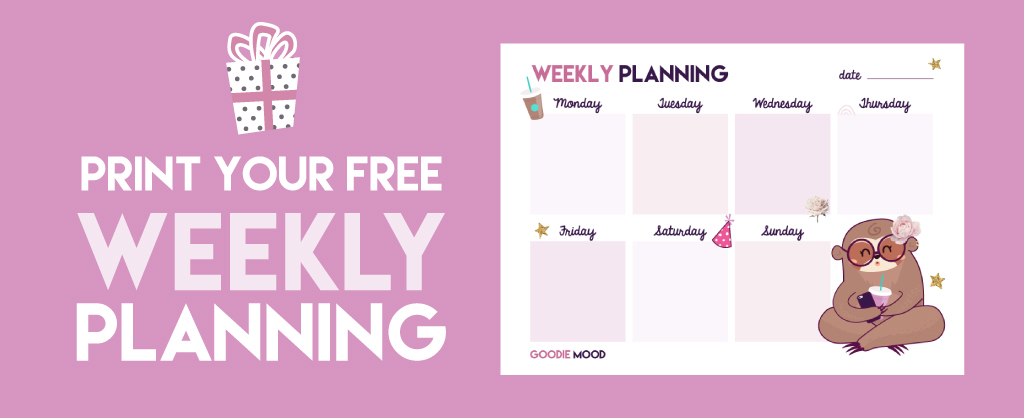 Download your free weekly planning - Tina the sloth