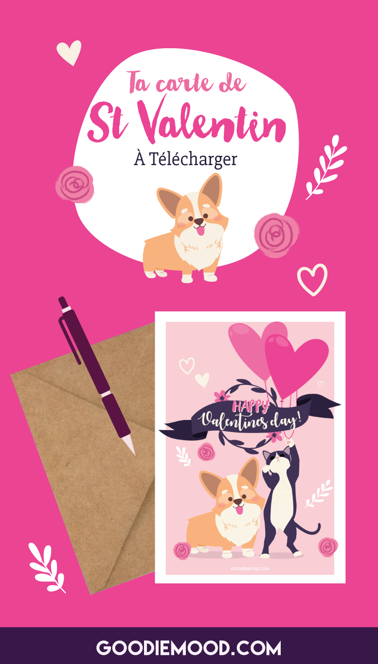 Imprime cette carte gratuite pour la St Valentin ! Sur Goodie Mood, le blog Feel Good 💗 #stvalentin #saintvalentin #cadeau #goodie #printable #gratuit #carte #ecard #corgi #illustration #chaton #chat #cute #adorable