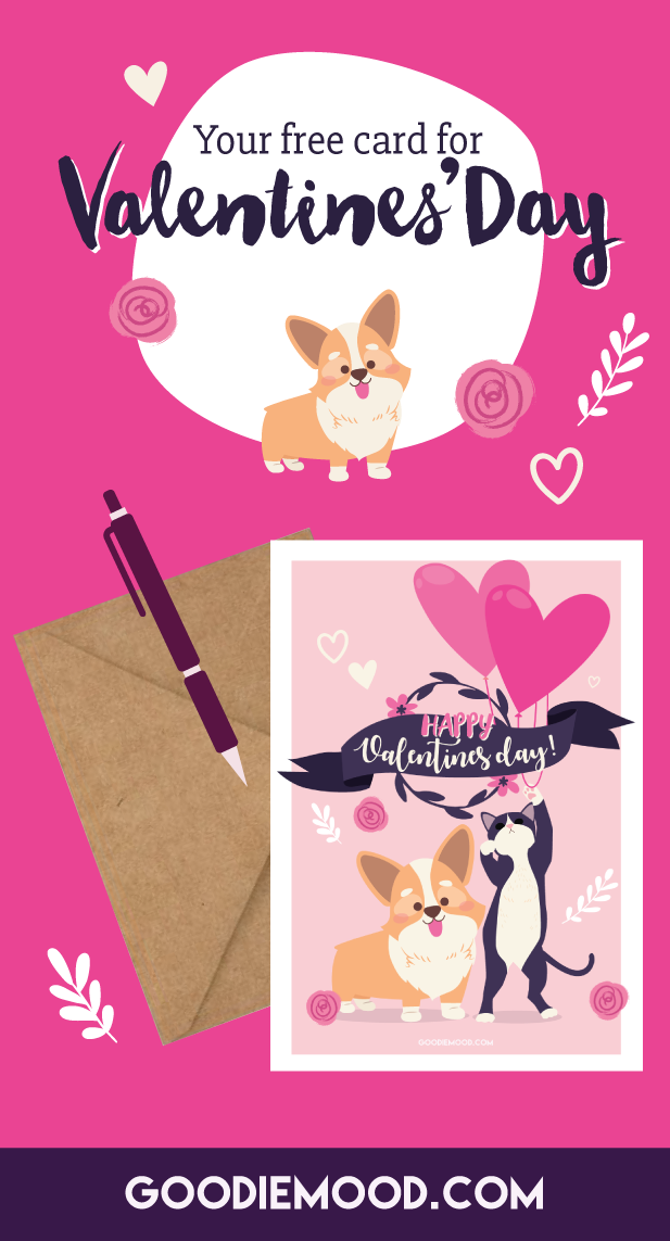 Dowload and print you FREE CARD for Valentines'Day 2019 ! On Goodiemood.com 💗 #valentinesday #valentine #ecard #free #corgi #kitty #cat #illustration #cute #adorable #printable #love