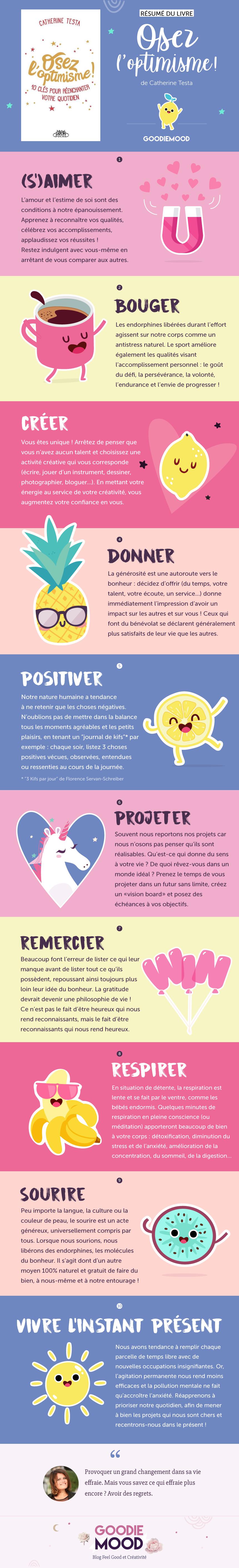 """Résumé du livre """"Osez l'Optimisme, 10 clés pour réenchanter le quotidien"""" de Catherine Testa 💗 Sur Goodie Mood le blog Feel Good 🌟#optimisme #developpementpersonnel #catherinetesta #bonheur"""