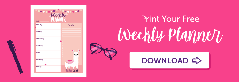 print your free weekly planner with this cute alpaga