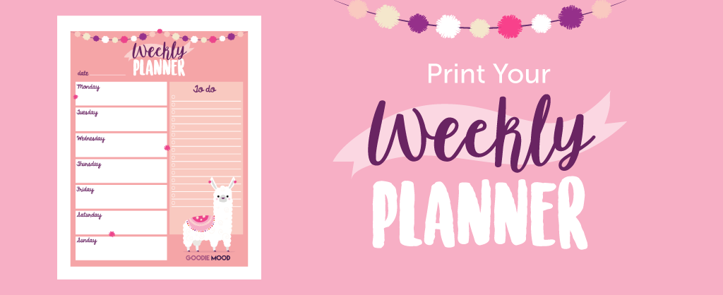 "Print your free weekly planner ""cute Alpaga"""