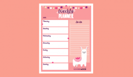 Download your free weekly planner. alpaga illustration