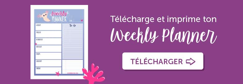 """Imprime ton planning e la semaine gratuitement """"axolotl"""" bouton"""