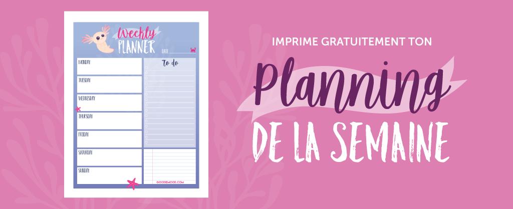 """Imprime ton planning e la semaine gratuitement """"axolotl"""" sur goodie mood"""