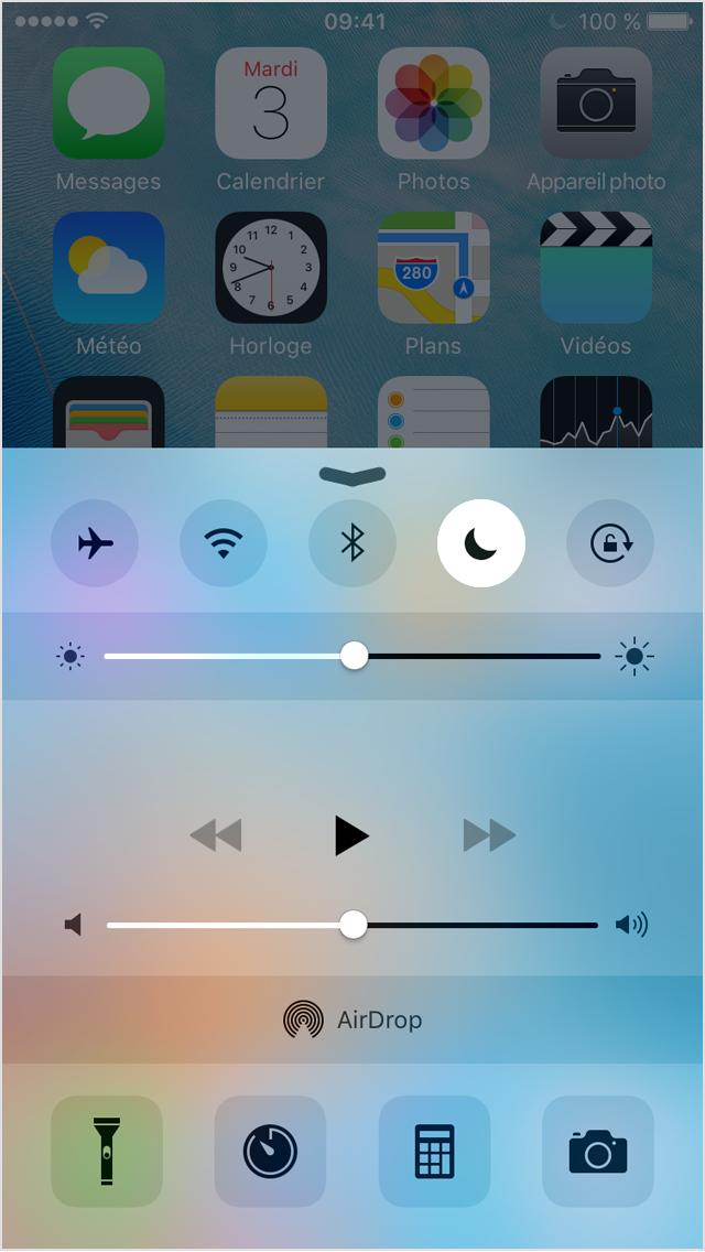 """bouton """"lune"""" ne pas déranger sur iPhone"""
