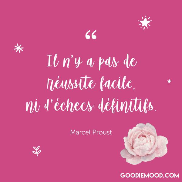 """""""Il n'y a pas de réussite facile ni d'échecs définitifs."""" - Marcel Proust"""