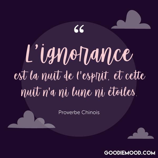 """""""L'ignorance est la nuit de l'esprit, et cette nuit n'a ni lune ni étoiles."""" - Proverbe Chinois"""