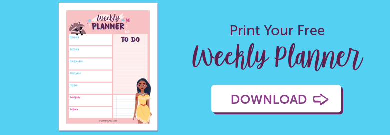 print your free weekly planner Pocahontas in PDF