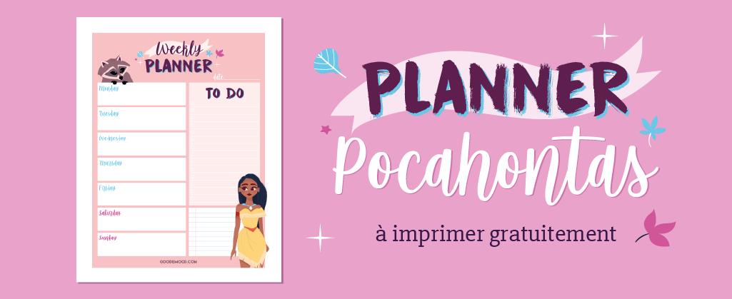 Ton planning de la semaine gratuit à imprimer sur le thème de Pocahontas