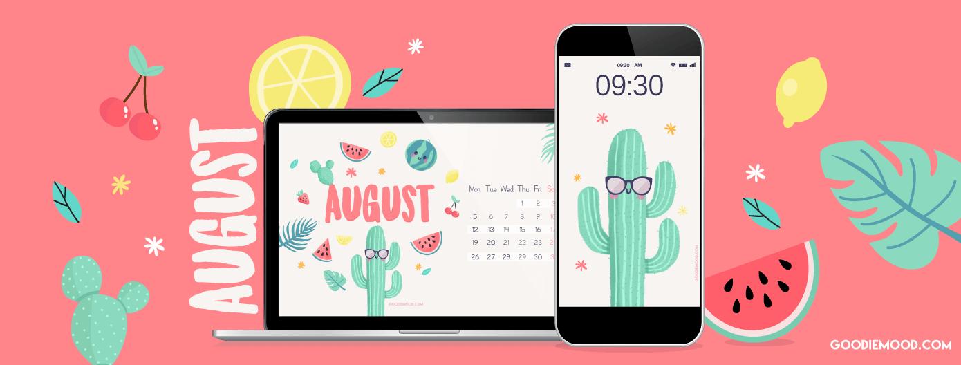 Telecharge ton fond d'écran pour aout 2019 avec des cactus et des melons !
