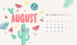 Fond d'écran et calendrier gratuits pour aout 2019