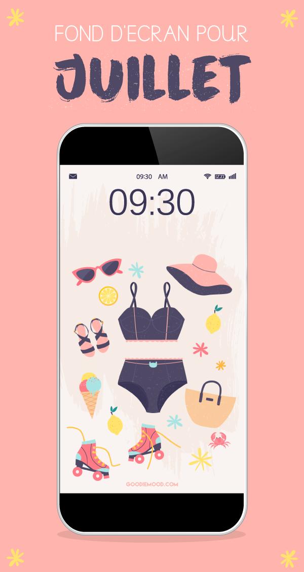 Fond d'écran gratuit et calendrier juillet 2019 à télécharger #summer #wallpaper #free #feelgood #cute