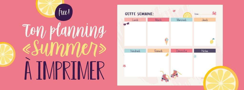 semainier gratuit illustré à imprimer sur le thème de l'été
