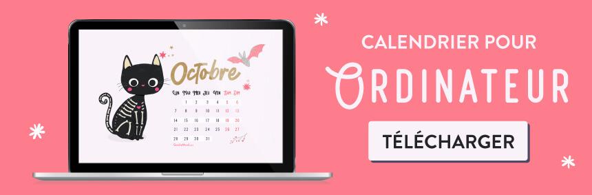 Telecharger le calendrier pour fond d'écran pour Octobre 2019 - Chat pour Halloween