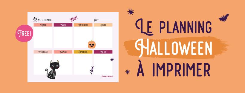 Planning / semainier gratuit à télécharger pour Halloween