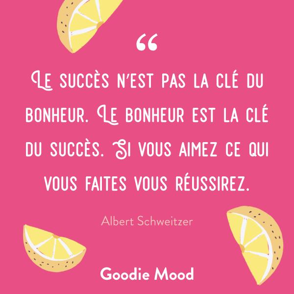 """""""Le succès n'est pas la clé du bonheur. Le bonheur est la clé du succès. Si vous aimez ce qui vous faites vous réussirez. """" #citation #inspiration #succes"""