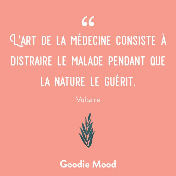 L'art de la médecine consiste à distraire le malade pendant que la nature le guérit. #sante #citation #feelgood
