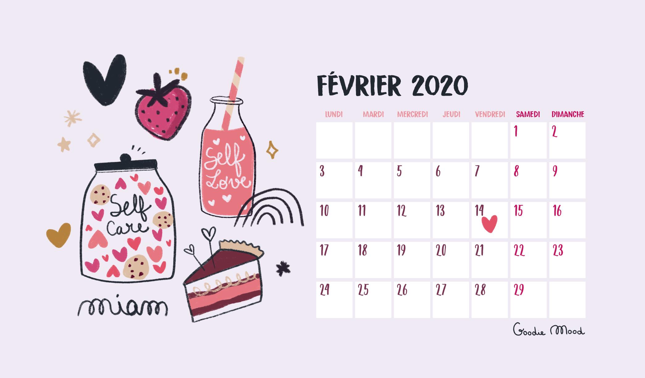 Goodie Mood - Calendrier pour février 2020