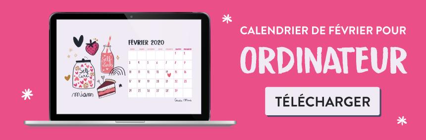 Téléchargez votre calendrier pour février 2020 - self love