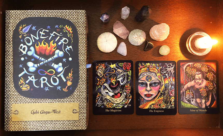 Bonefire Tarot, photo of the deck