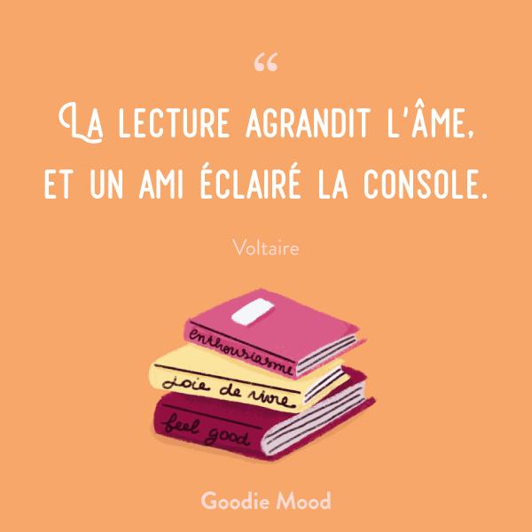 La lecture agrandit l'âme, et un ami éclairé la console.