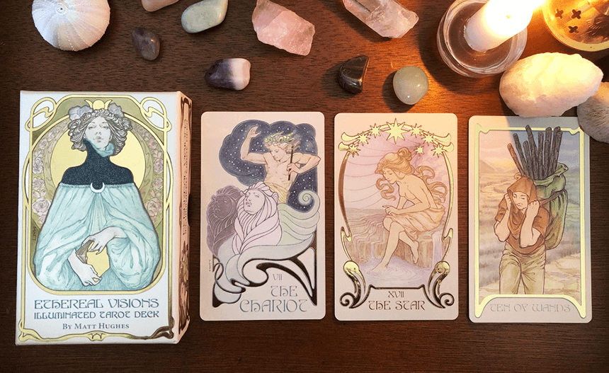 Ethereal Visions illuminated Tarot Deck, photo of the deck