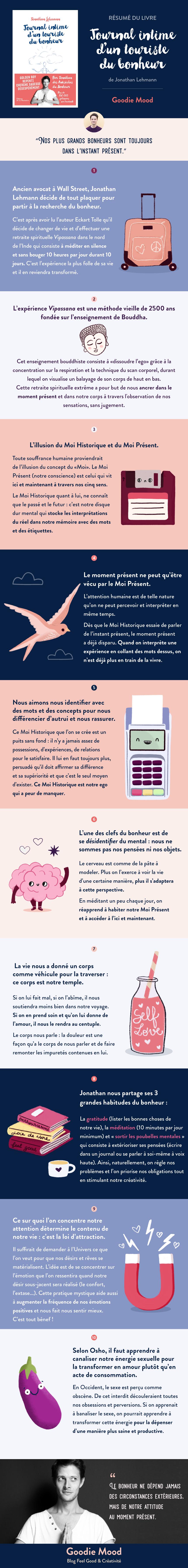 """Résumé du livre """"Journal intime d'un touriste du bonheur"""" de Jonathan Lehmann en infographie goodie mood"""