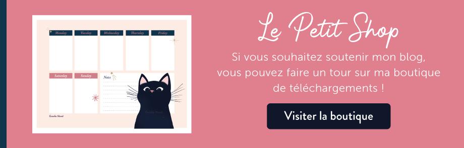 Acheter le semainier / weekly Planner petit chat noir sur ma boutique