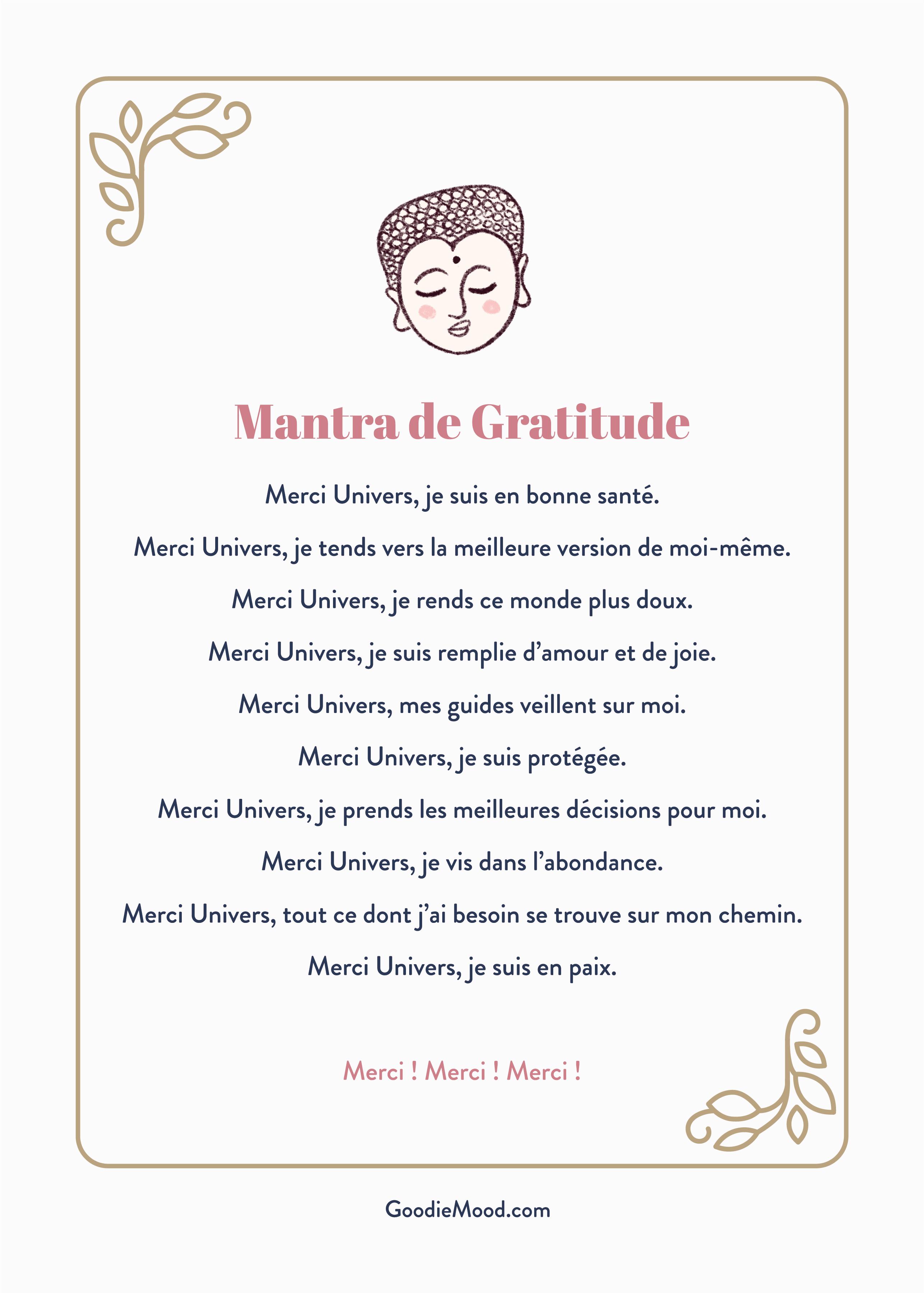 Mantra / prière de gratitude à réciter avant la méditation, goodie mood le blog spiritualité