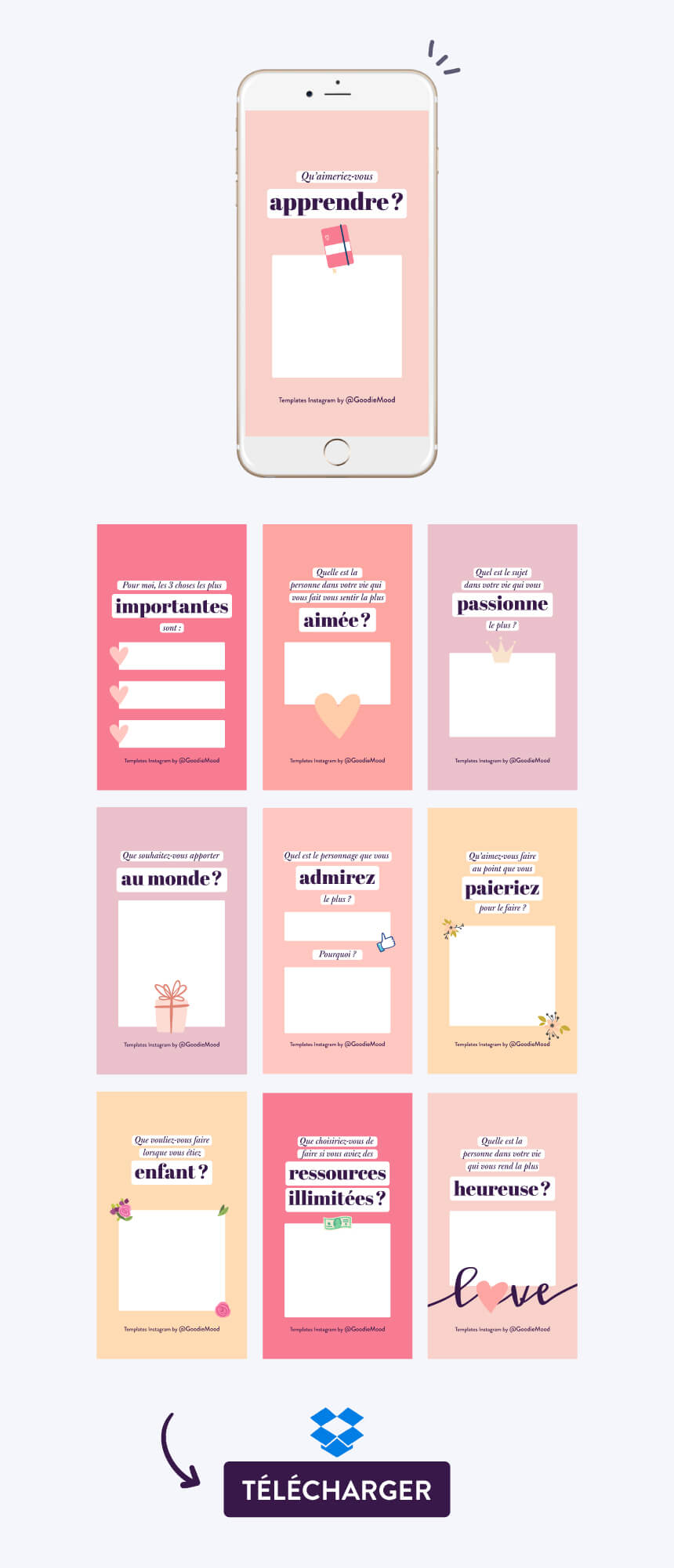 Télécharger 12 templates Instagram pour vos stories !