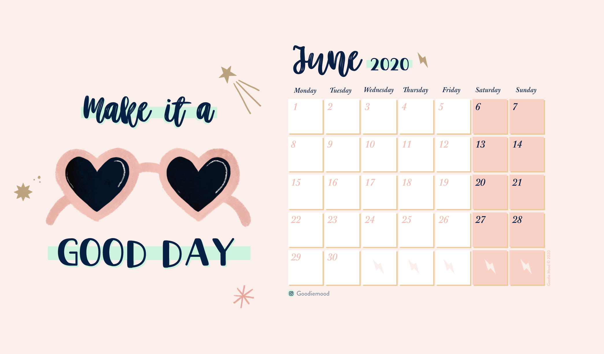 Download your free wallpaper and calendar for June 2020 - Goodie Mood