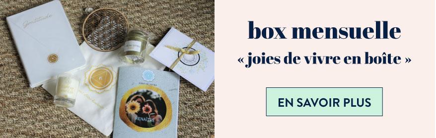 """en savoir plus sur la box mensuelle """"Joies de vivre en boîte"""""""