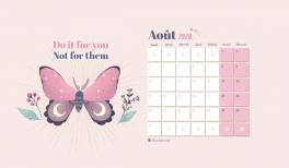 Téléchargez votre fond d'écran illustré et calendrier pour aout 2020 pour Goodie Mood