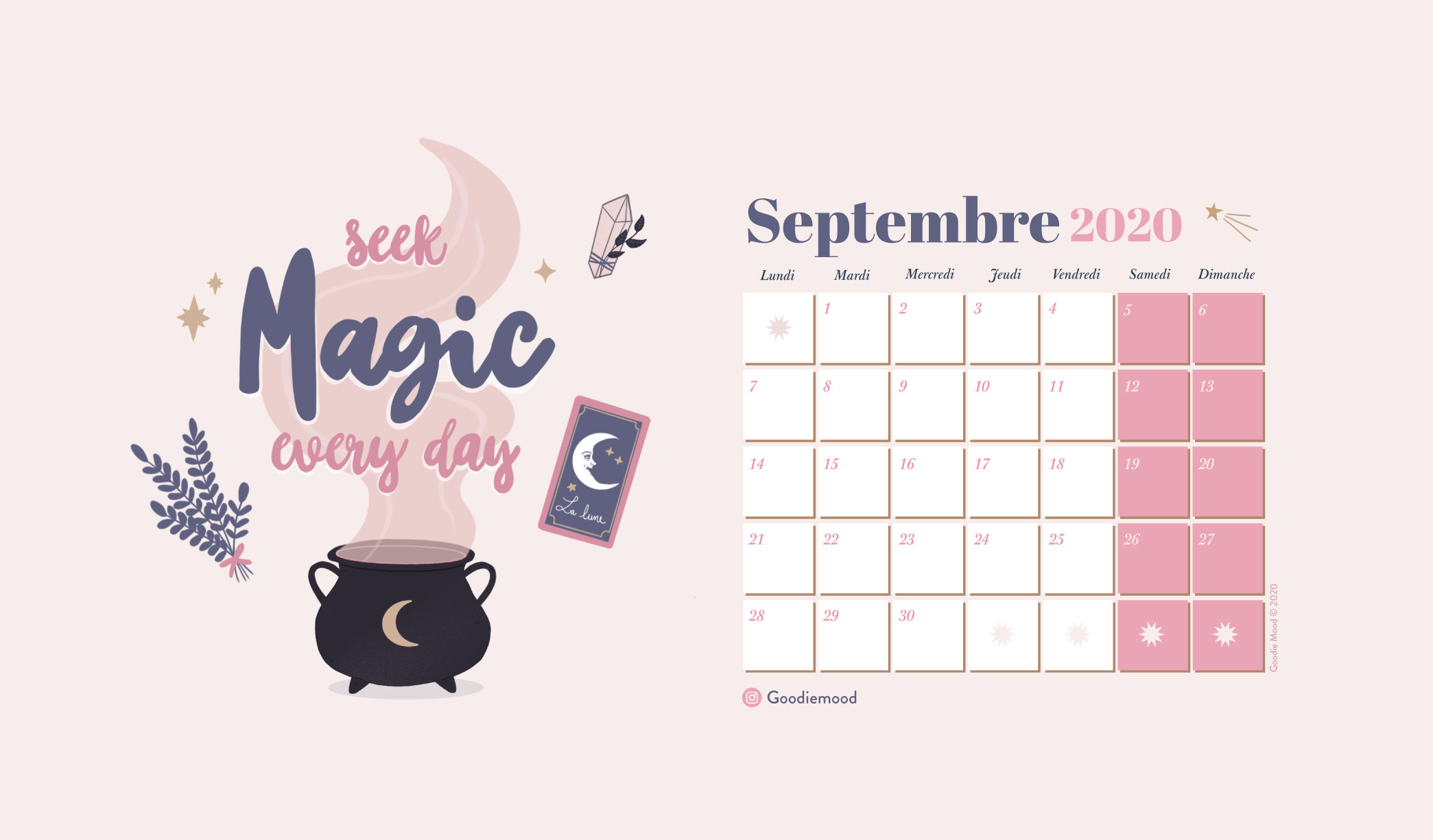 """Calendrier gratuit """"Seek Magic Every Day"""" sur Goodie Mood pour Septembre 2020 !"""