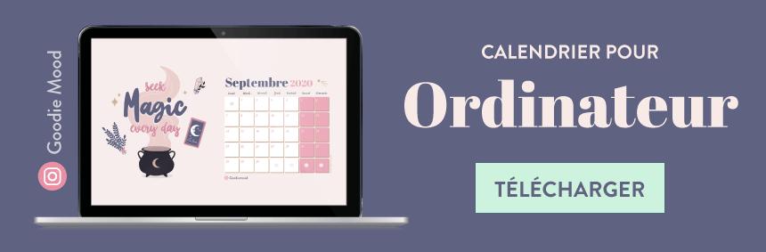 Cliquez pour télécharger le calendrier gratuit de Septembre 2020 sur Goodie Mood !