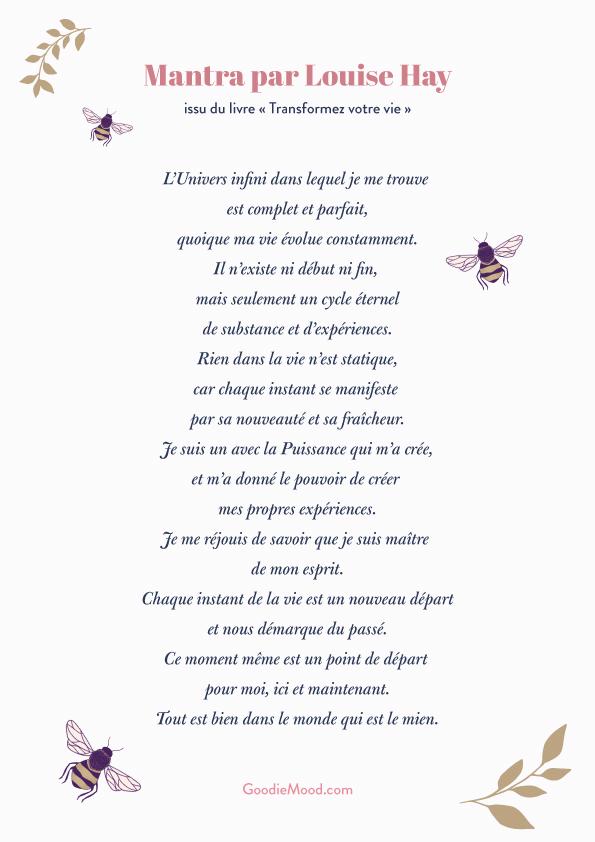 """Prière de Louise Hay, """"Transformez votre vie"""""""