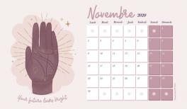 Fond d'écran et calendrier gratuits Goodie Mood pour novembre 2020 - lire les lignes de la main