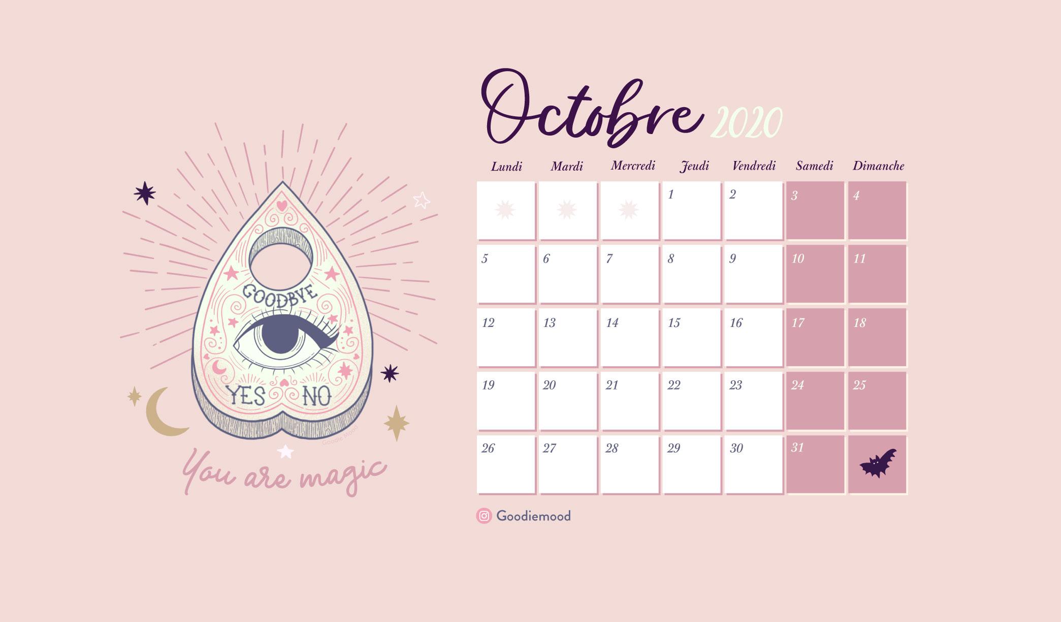 """Calendrier et fond d'ecrn goodie mood """"ouija"""" pour octobre 2020 gratuits"""