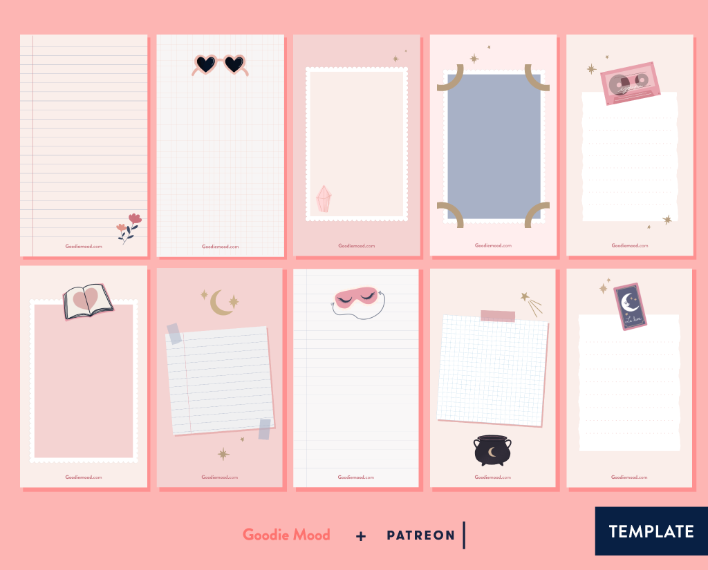 Telechargez 10 templates illustrés pour vos stories instagram sur Patreon