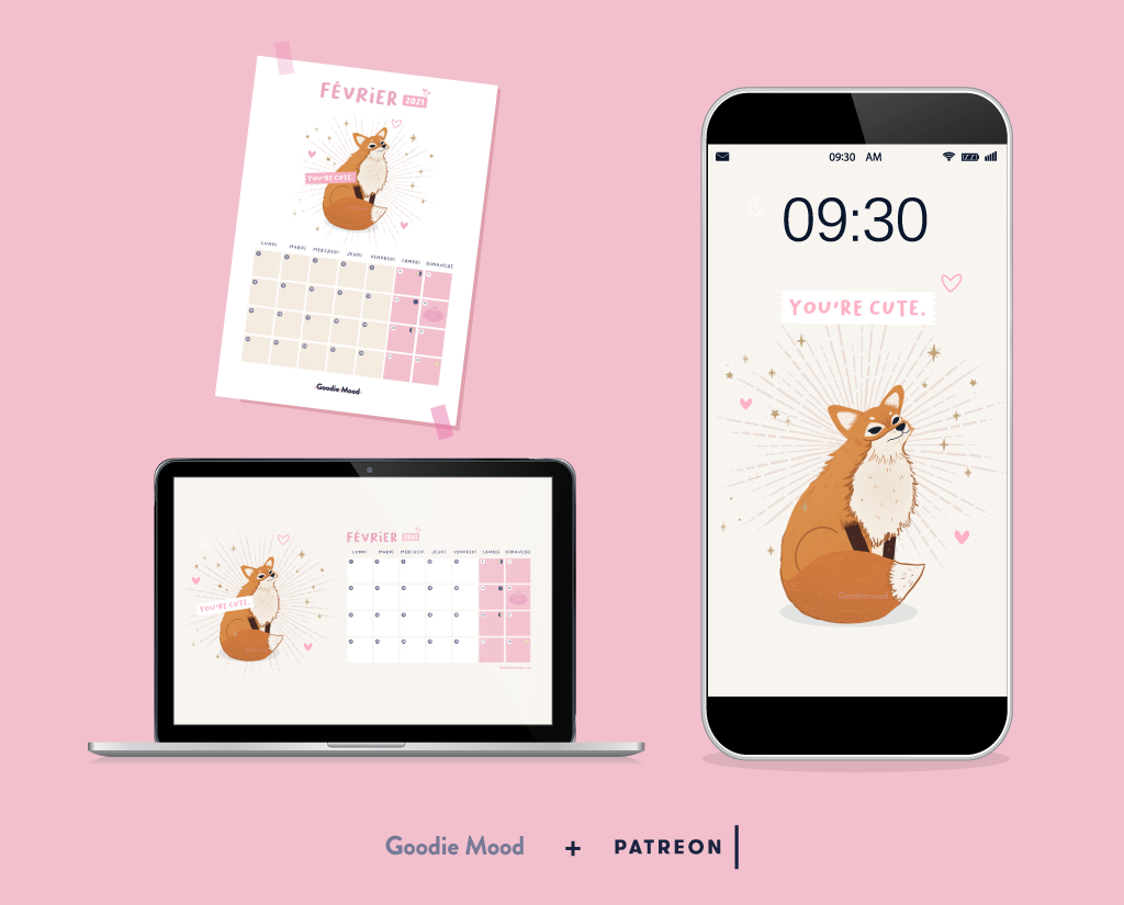 Wallpaper, calendrier pour février 2021 à imprimer et à placer en fond d'écran - illustration Goodie Mood, le blog feel good !